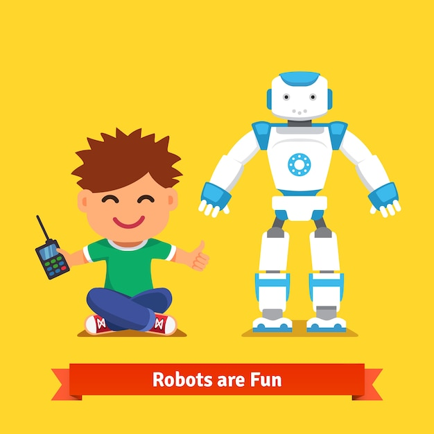 Little boy playing with remote controlled robot Free Vector