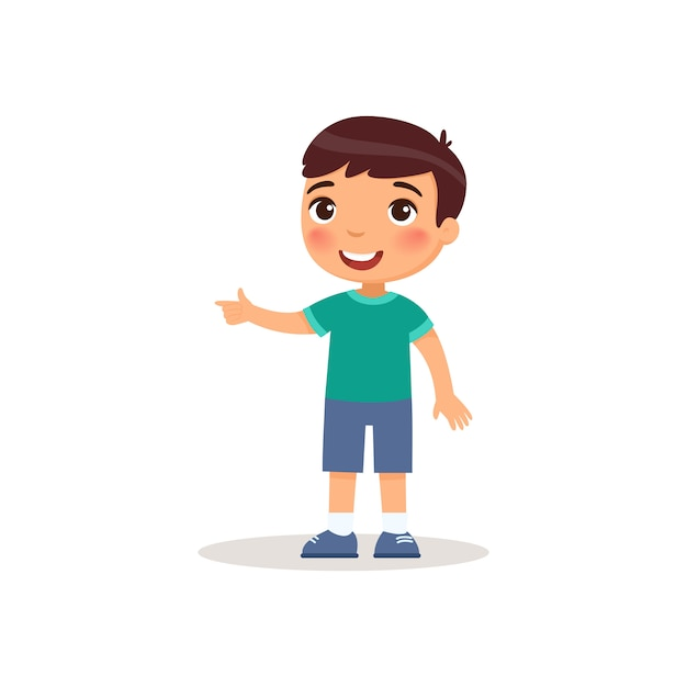 Little boy pointing with index finger flat vector illustration. Free Vector