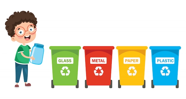 A little boy recycling garbage Premium Vector