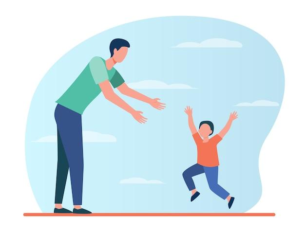 Ragazzino che corre da suo padre. padre e figlio che godono di riunione illustrazione piatta. Vettore gratuito
