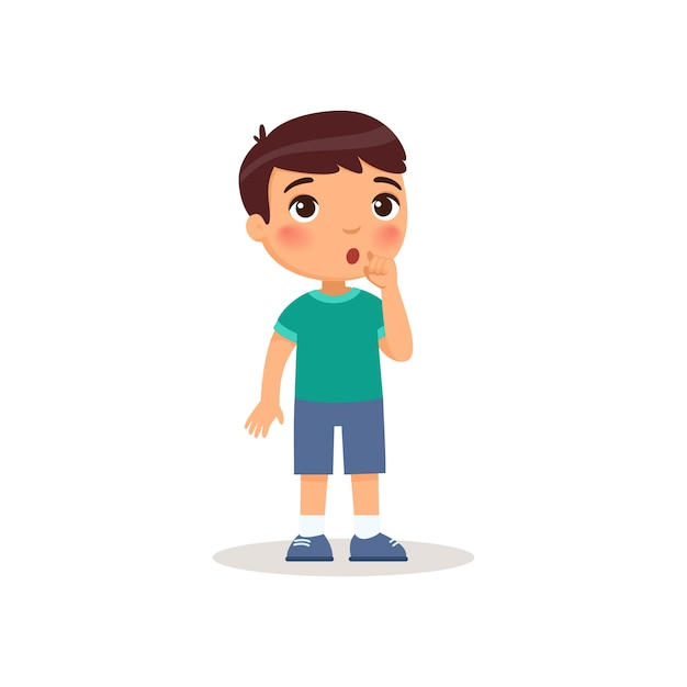 Little boy showing silence gesture flat vector illustration. Free Vector