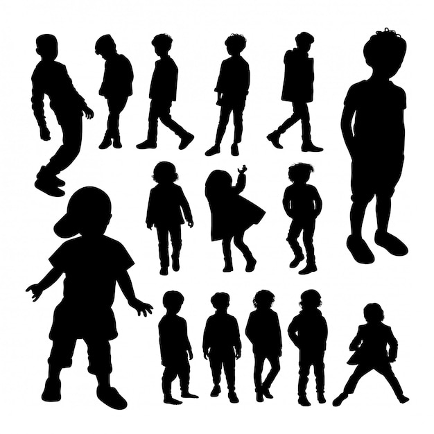Little boy silhouettes. Premium Vector