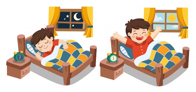 A little boy sleeping on tonight dreams, good night and sweet dreams. he wake up in the morning. isolated vector Premium Vector