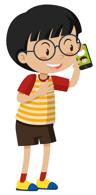 little boy talking on cell phone vector | free download