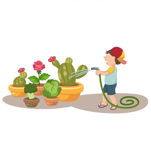 Little boy watering the trees Premium Vector