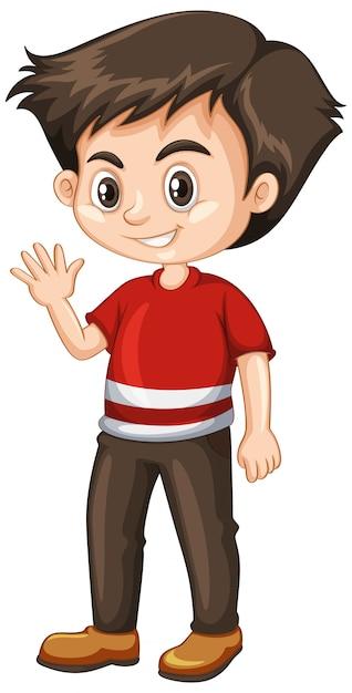 Little boy waving hand Free Vector