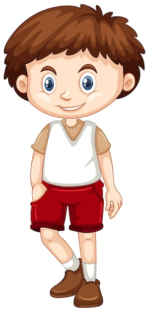 Little boy wearing red shorts Free Vector