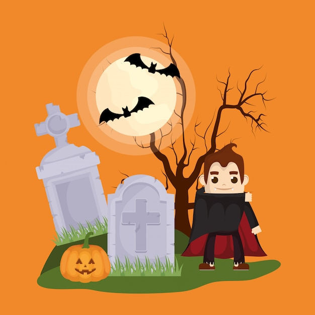 Little boy with dracula disguise character Free Vector