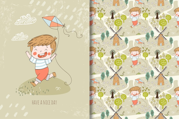 Little boy with kite illustration and seamless pattern Premium Vector