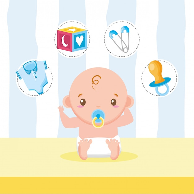 Little boy with toys and accessories Free Vector