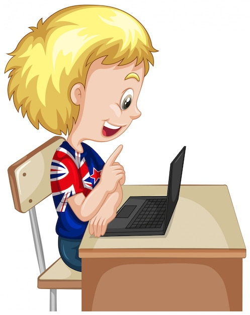 Little boy working on computer laptop Free Vector