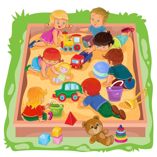 Little boys and girls sitting in the sandbox, play their toys
