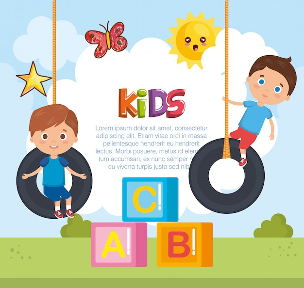 Little boys playing on the park Free Vector