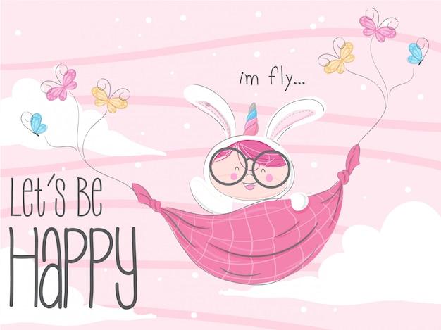 Little bunny flying hand drawn illustration-vector Premium Vector
