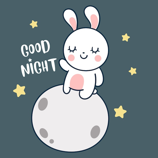 Little bunny on the moon hand drawn style Premium Vector
