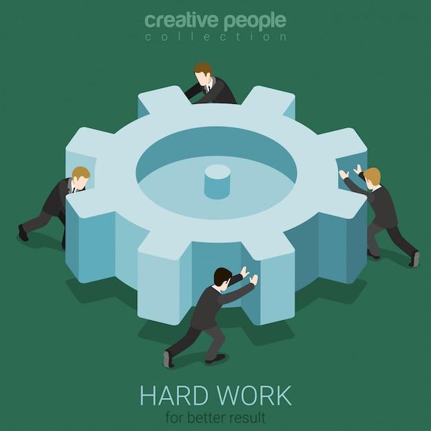 Little businessmen spinning big cogwheel gear hard work team teamwork concept isometric  illustration Free Vector