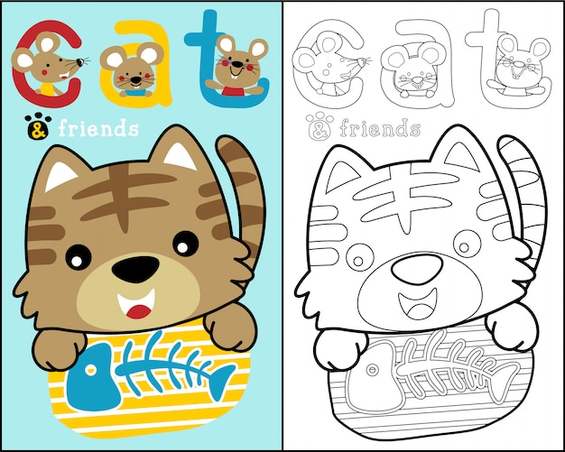 Little cat and friends cartoon on coloring book Vector ...