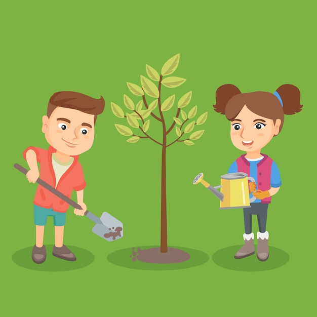 Little caucasian boy and girl planting the tree. Premium Vector