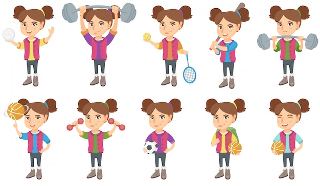 Little caucasian girl character set Premium Vector