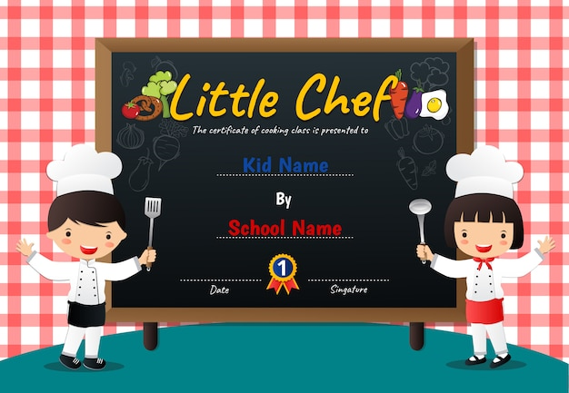 Little chef cooking class diploma certificate Premium Vector