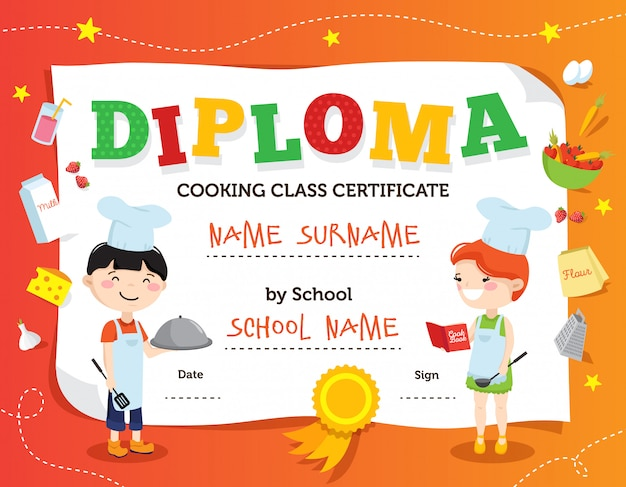 Little chef diploma design with cartoon teenager cook characters flat decorations and fields for personal data vector illustration Free Vector