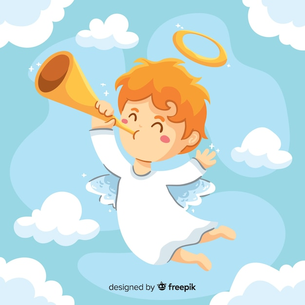 Little child angel hand drawn style Free Vector