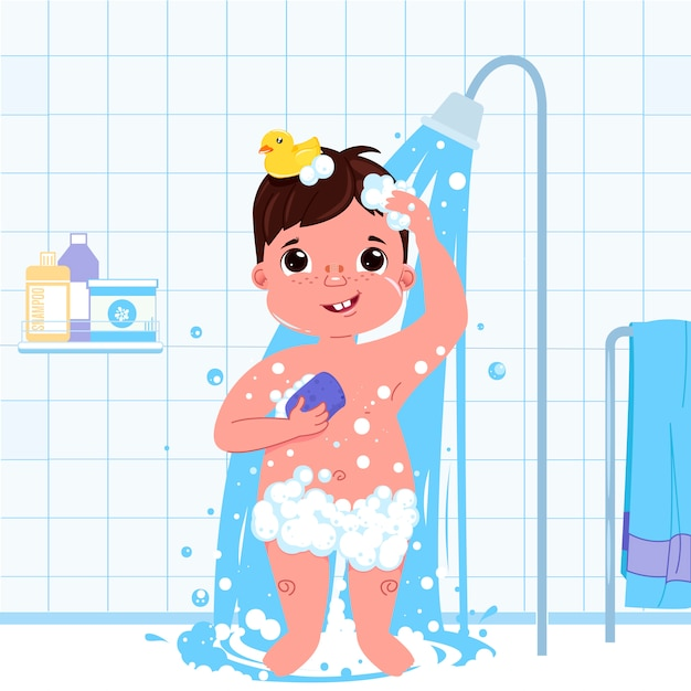 Little child boy character take a shower. daily routine. bathroom interior background. Free Vector