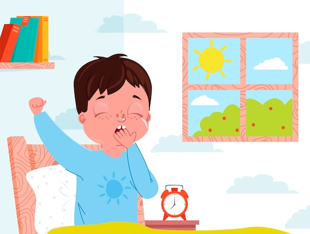 Little child boy wake up in the morning. kid bedroom interior. window with sunny day. Free Vector