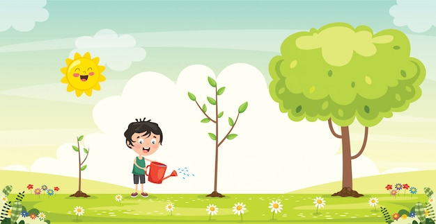 Little child gardening and planting Premium Vector