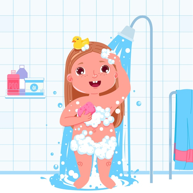 Little child girl character take a shower. daily routine. bathroom interior background. Free Vector