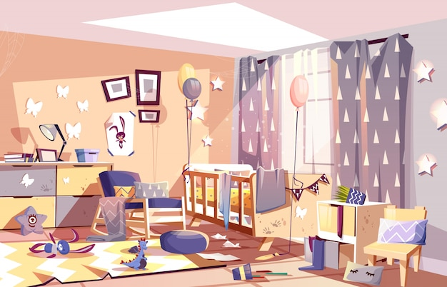 Little child messy room interior with scattered toys Free Vector