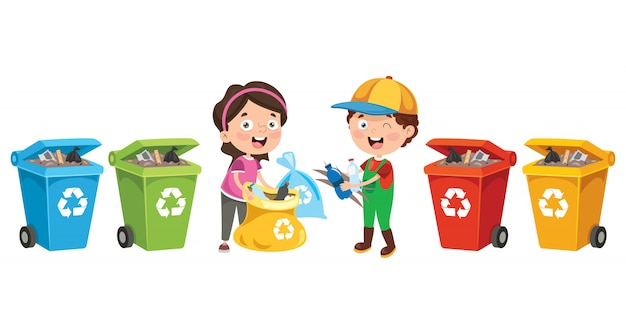Little children cleaning and recycling garbage Premium Vector