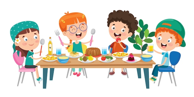 Little Children Eating Healthy Food Premium Vector