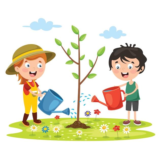 Little children gardening and planting | Premium Vector