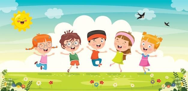 Little children having fun together Premium Vector
