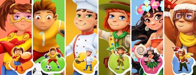 Маленькие дети в костюмах. супергерой, футболист, повар, разведчик, пилот Premium векторы