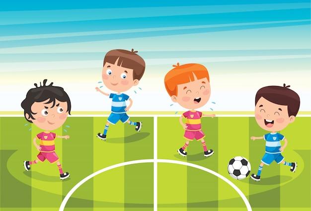Маленькие дети играют в футбол на улице Premium векторы
