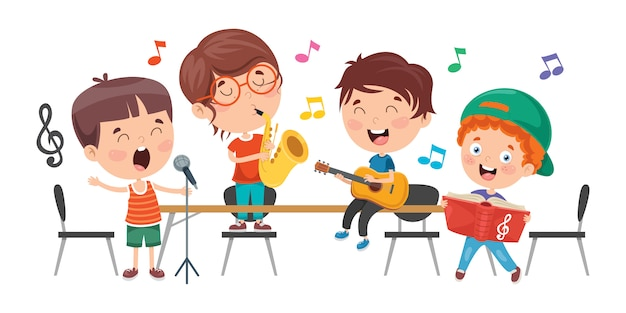 Little children playing music at classroom Premium Vector