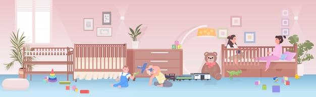 おもちゃを遊んでいる小さな子供たちが自宅で楽しんでいる子供の女の子または幼稚園の子供時代のコンセプトプレイルームのインテリア Premiumベクター