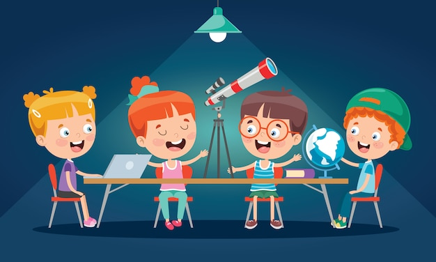 교실에서 공부하는 어린 아이들 프리미엄 벡터