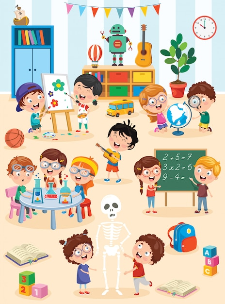 Little children studying and playing at preschool classroom Premium Vector