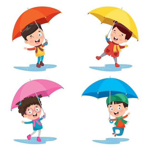 Little children with umbrellas Premium Vector