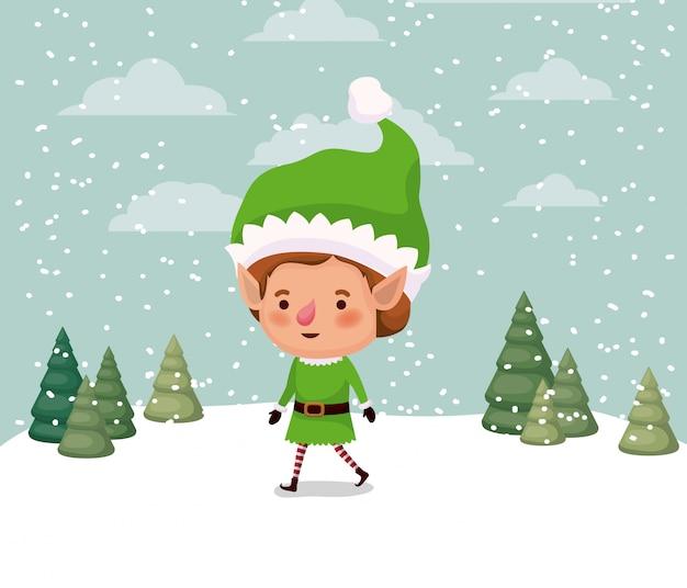 Little christmas elf character in snowscape vector illustration design Premium Vector