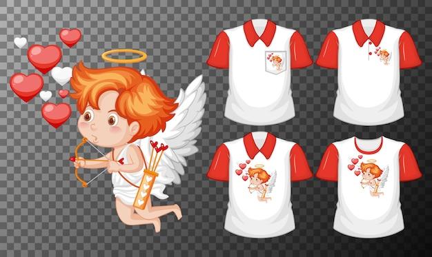 투명 한 배경에 고립 된 다른 셔츠의 세트로 작은 큐피드 만화 캐릭터 무료 벡터