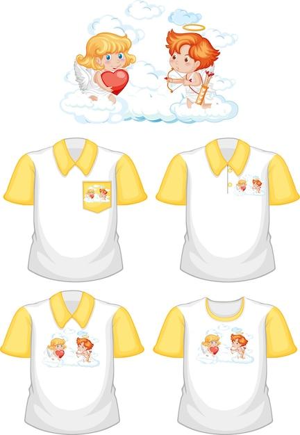 흰색 배경에 고립 된 다른 셔츠의 세트로 작은 큐피드 만화 캐릭터 무료 벡터