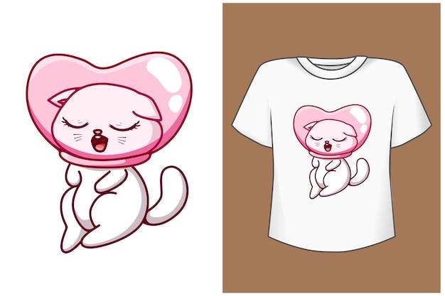 少しキュートで幸せな猫の漫画イラスト Premiumベクター