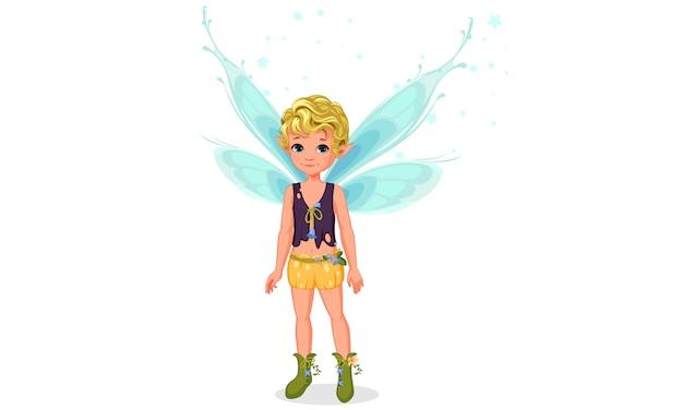 Little cute boy fairy standing Premium Vector