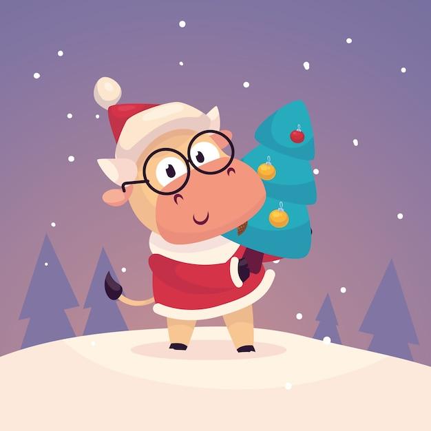 Little cute bull dressed as santa claus hang a christmas tree Premium Vector