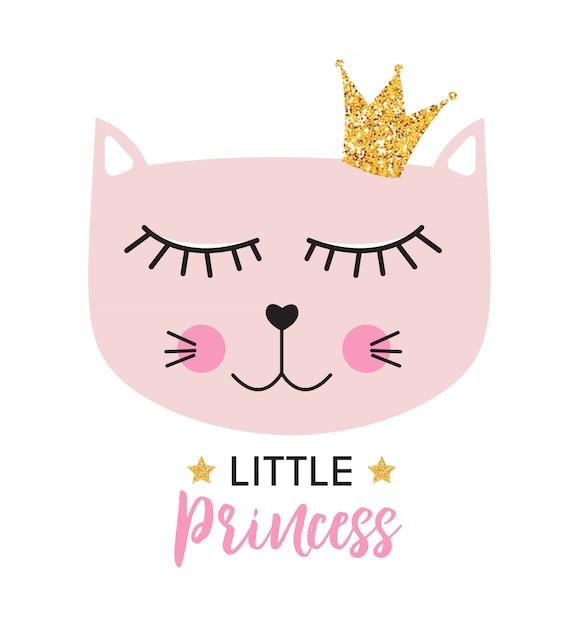 Little cute cat princess Premium Vector