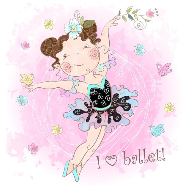 Little cute girl ballerina dancing. i love ballet. inscription. Premium Vector